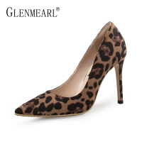 Sexy Women Pumps High Heels Shoes Spring Leopard Thin Heels Woman Party Shoes Brand Plus Size