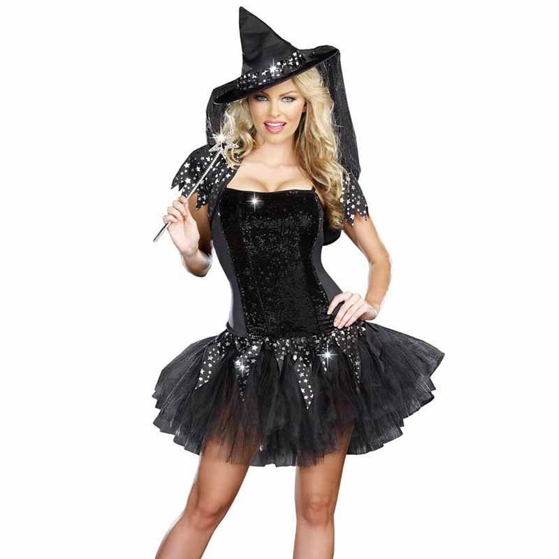 Halloween Sexy Witch Costumes Adult Clothes Sex Women Queen Carnival Party Cosplay Fancy Dress (1)