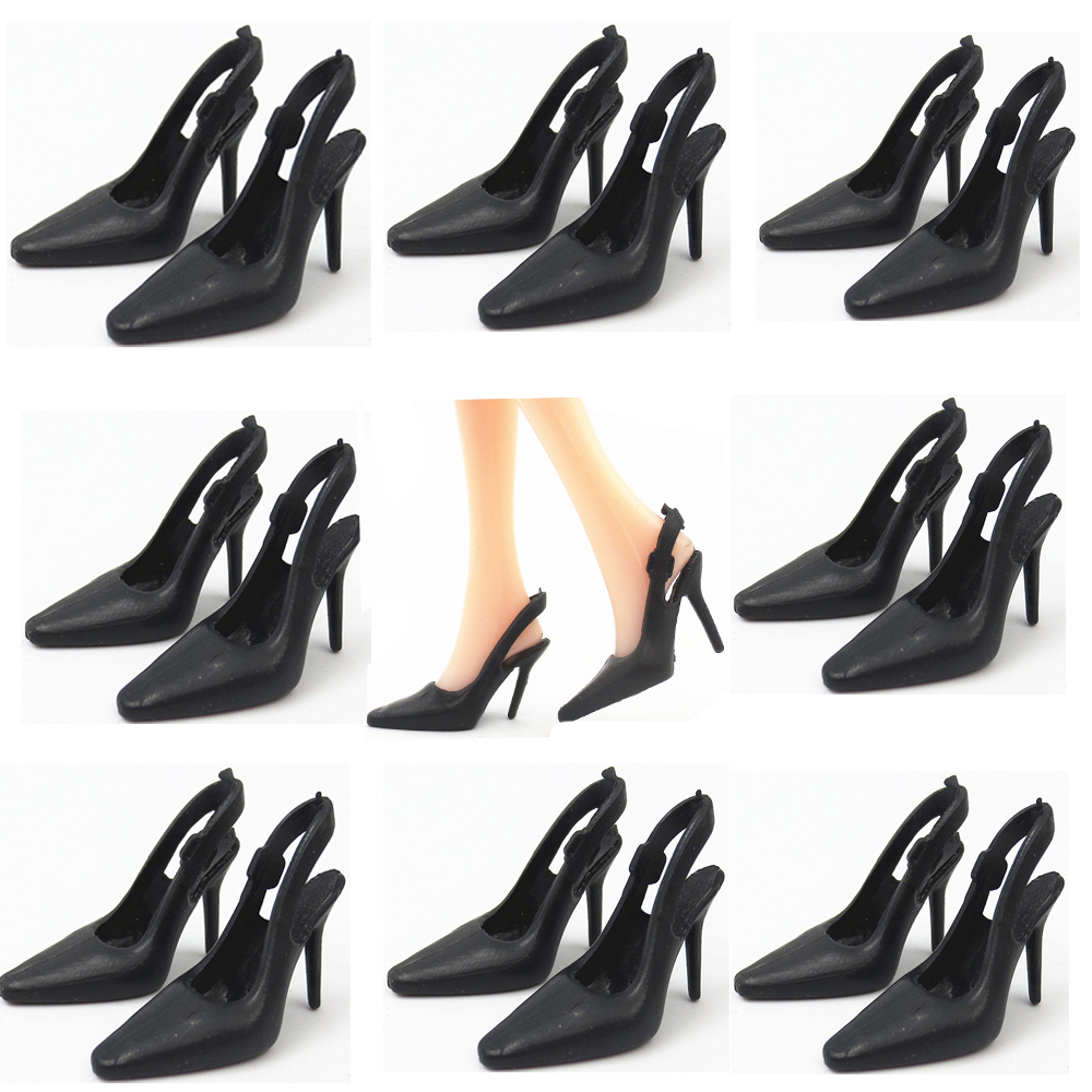 NK 10 Pairs/Set Doll Black  Shoes Cute Heels Fashion  Sandals For Barbie Doll High Quality Baby Toy 019E DZ