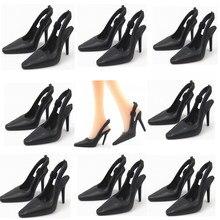 Nk 10 pares/set boneca de salto bonito, sapatos pretos, sandálias de moda para boneca barbie, brinquedo de bebê de alta qualidade 019e dz