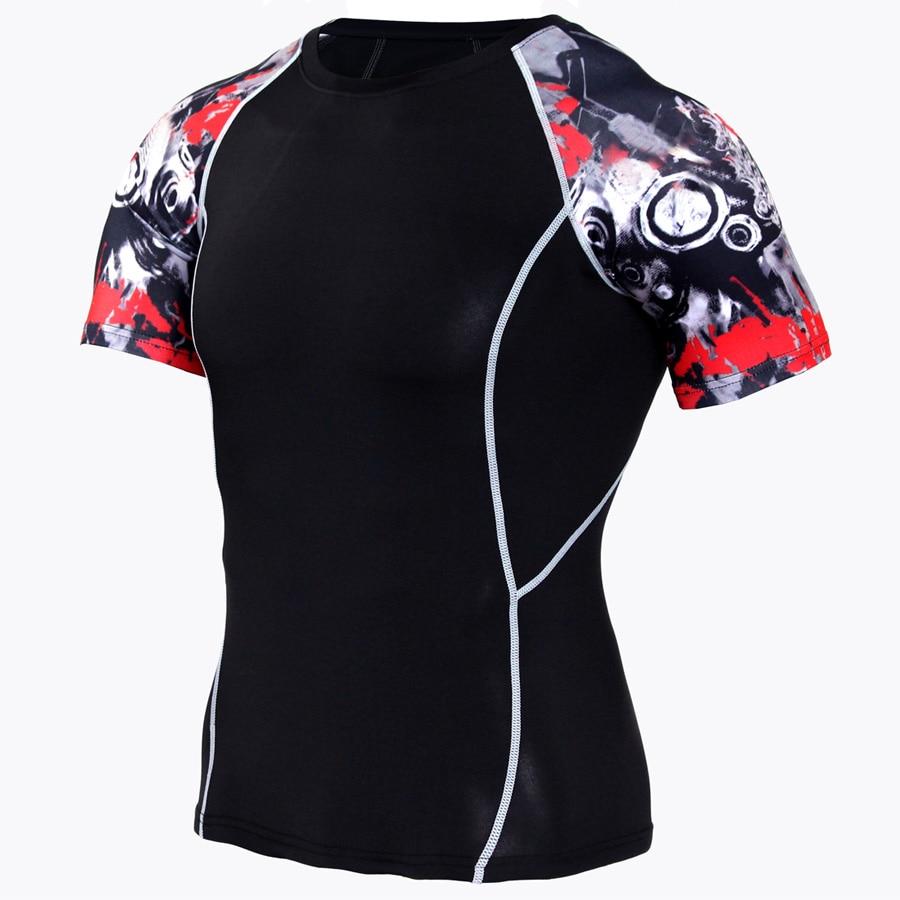 2017 Newest Men Compression Shirt T shirts Lycra Spliced Crossfit T-shirt Print Short Sleeve Fitness Tops Brand Clothing MMA