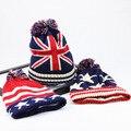 Sombrero Del invierno de Las Mujeres 2016 EE.UU. Bandera Americana Beanie invierno caliente gorras de punto sombreros para hombres Skullies gorros gorros capo femme