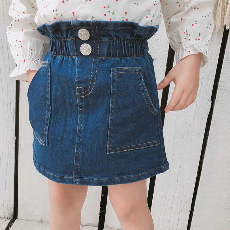 020a02b5510e Spring Summer 2019 baby girls Buds waist kids denim skirt for girls  children fashion all-