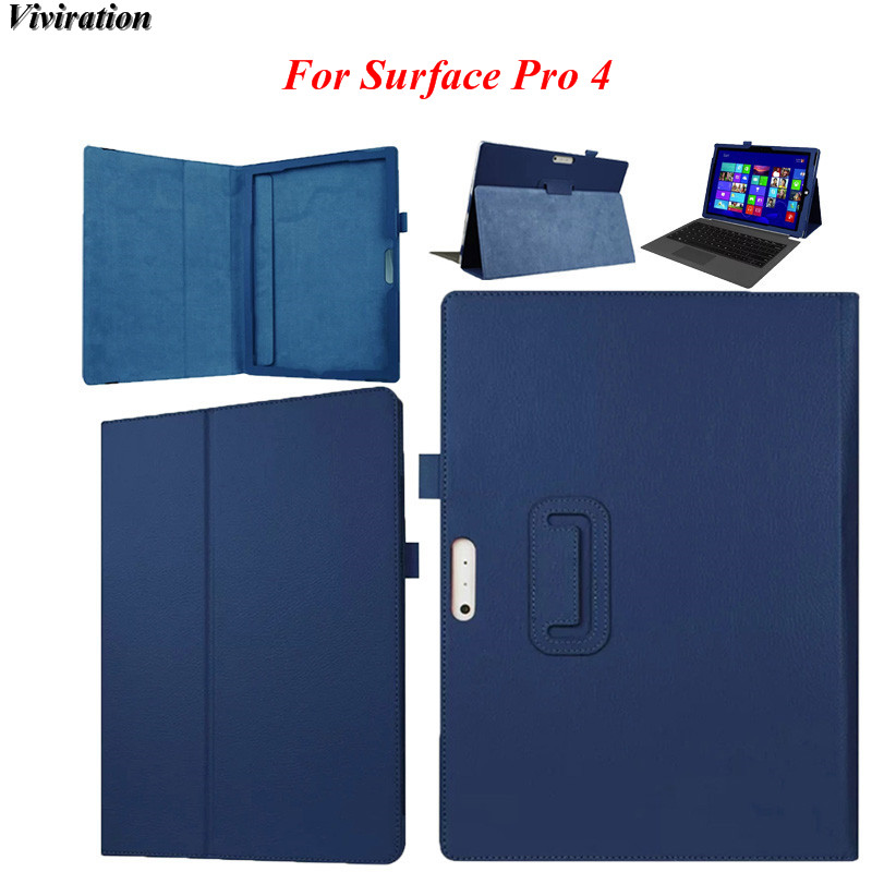 For Microsoft Surface Pro 4 12.3 Tablet PC Cover Case PU Leather Solid Bule Case Luxury Ultrathin Tablet PC Protective Case pc 39