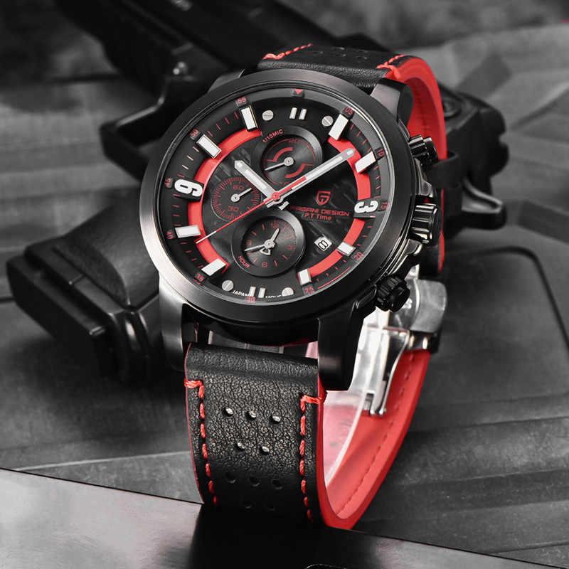 PAGANI עיצוב 2019 למעלה מותג יוקרה עמיד למים גברים שעון קוורץ זוהר צבאי ספורט הכרונוגרף שחור חיוג תאריך reloj hombre