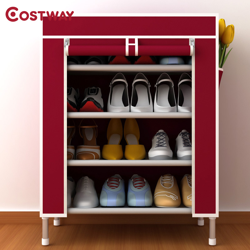 COSTWAY Oxford Cloth Shoe Cabinets Shoes Rack Stand Shelf Shoes Organizer Living Room Bedroom Storage Furniture W0171 shoe rack nonwovens steel pipe 4 layers shoe cabinet easy assembled shelf storage organizer stand holder living room furniture