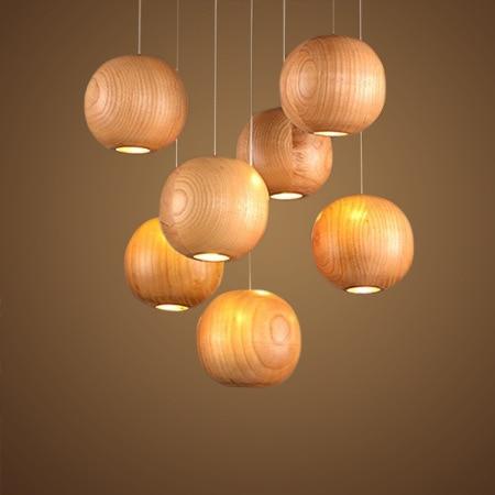 Lampe pendante en bois individuelle en bois pour chambre à coucher rurale led design japonais luminaires à boule ronde créatifs A201