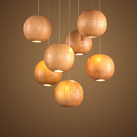 rural wood led living bedroom individual wood pendent lamp Japan designer creative round ball lighting fixtures A201