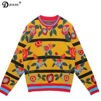 JOYDU Winter Runway Knitted Sweaters 2018 Vintage Wide Yellow Stripes O neck Flora Pattern Jersey Jumper Pullover sueter mujer