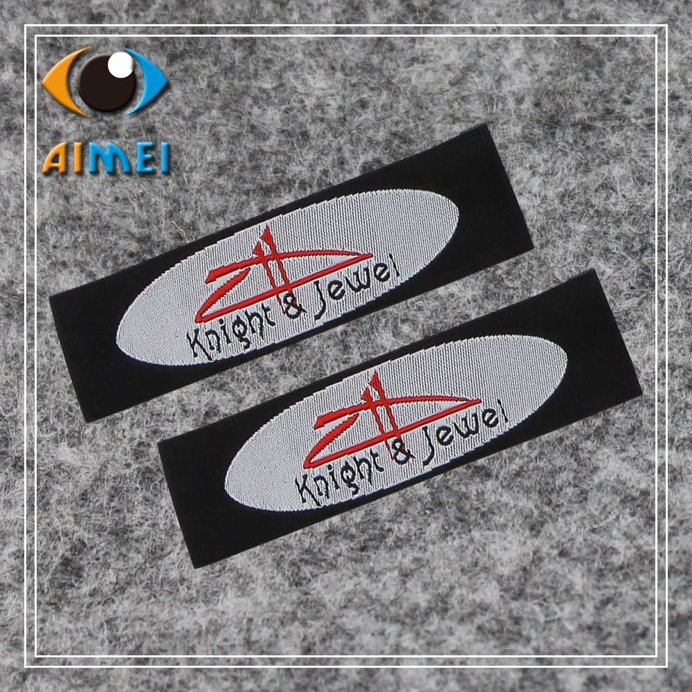 Customized end fold garment tags clothing Woven Labels leader label paintings personalized bags accesories jeans badge for gift