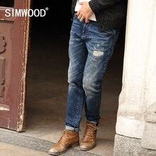 SIMWOOD 2016 Neue Herbst Winter Jeans Männer Kausalen Mode Hosen Denim Hosen Männlichen Patchwork Loch SJ6031