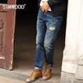 SIMWOOD 2016 Nueva Otoño Invierno Jeans Hombres Causales de Moda Los Pantalones de Mezclilla Pantalones Masculinos Patchwork Agujero SJ6031