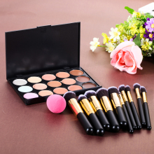 15 Color Concealer Palette + 10 x Makeup Brushes Kit + Teardrop-shaped Puff Makeup Base Foundation Concealers Face Powder