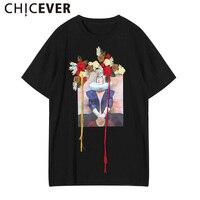 CHICEVER 2017 D'été Femmes Imprimer Broderie Floral Gland T Shirts Tops Manches Courtes Grandes Tailles Femme Coréenne Vêtements Casual