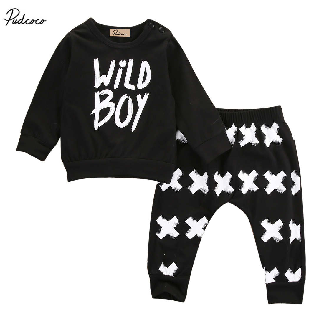 Wild Boy Newborn Baby Boys Infant Long Sleeve T-Shirt Tops X Print Pants Clothes Outfit Set 0-24M infant baby boy girl 2pcs clothes set kids short sleeve you serious clark letters romper tops car print pants 2pcs outfit set