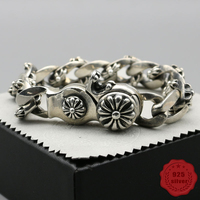 925 sterling silver bracelet personality fashion classic punk style street dance domineering cross letter shape gift 2018 new