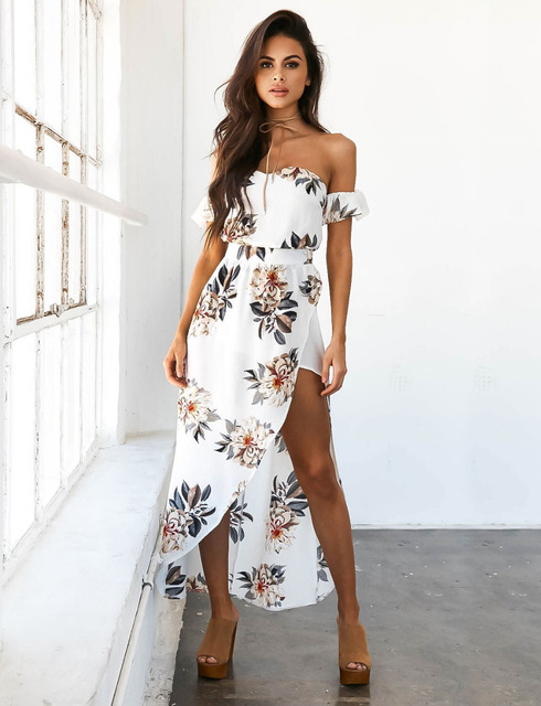 b13039f4ffe5 Summer Dress 2017 Women Long Boho Clothing Women Sexy Off Shoulder Beach Dresses  Floral Print Vintage Chiffon Maxi Dress Vestido