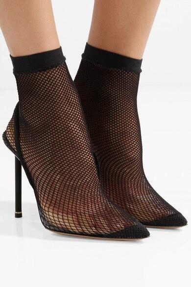 De Décorations Chaussures Fête Slip Bout Sandale Net Shown Pointu As Sexy Femme as Shown Noir Mode on Femmes Stiletto Pour Bottes Minimalistes a8B6wnx