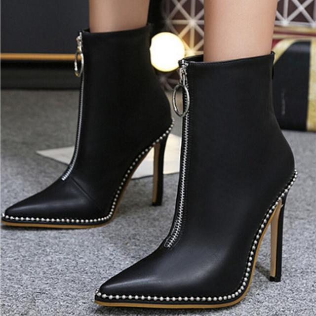 b534a3ad3d4f Пикантные туфли с острым носком на молнии спереди ботильоны женская тонкая  обувь на высоком каблуке Известный