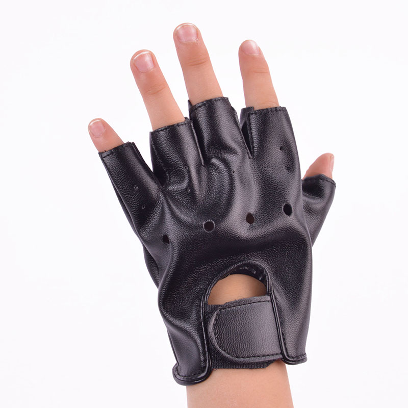 Boys' Baby Clothing Cool Baby Boy Girl Leather Gloves Kids Half Fingerless Glove Children Sport Half-finger Black Mittens Distinctive For Its Traditional Properties
