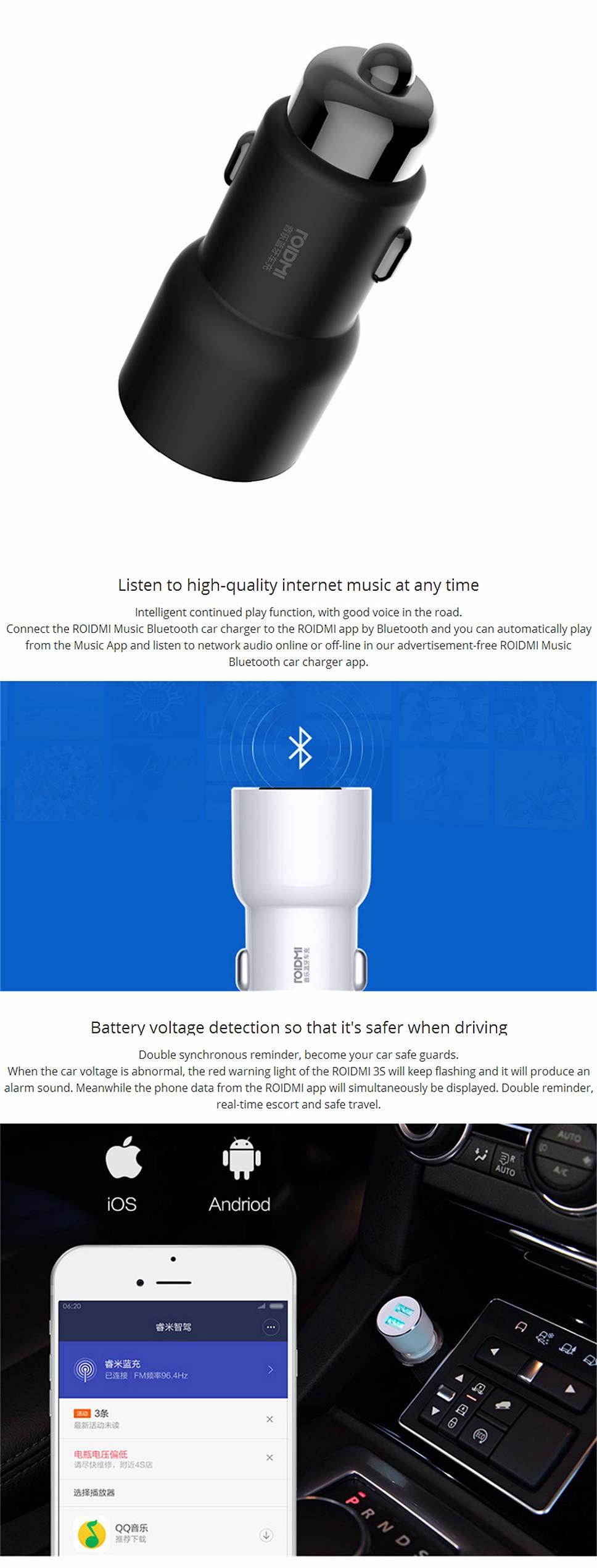 Details about Xiaomi ROIDMI 3S Bluetooth Music Player FM Transmitter 5V  3 4A Dual USB Car Kit