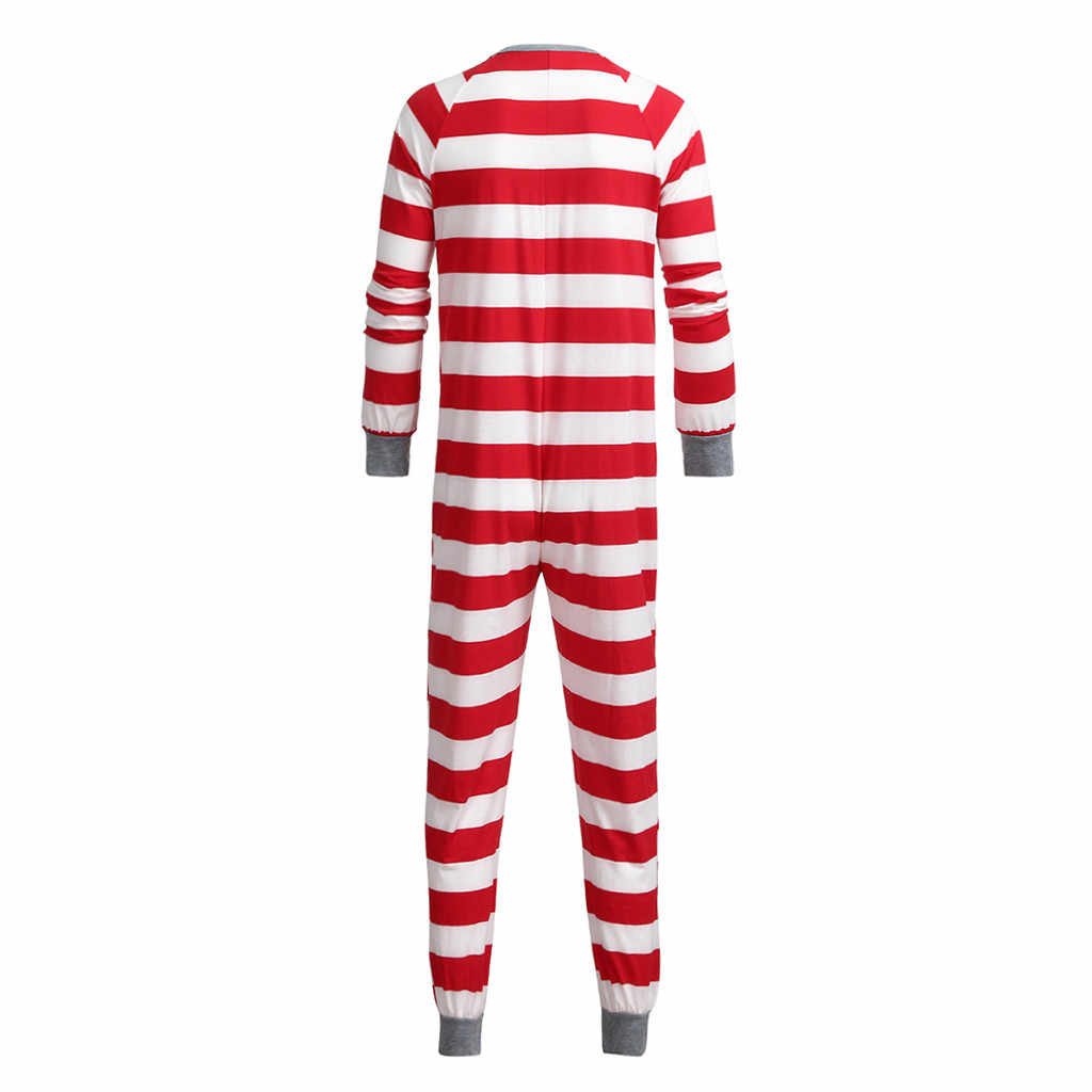 Plus Size Christmas Pajamas.Women Mom Family Xmas Jammies Striped Holiday Matching Pajamas Long Jumpsuits Plus Size Christmas Matching Family Pajamas