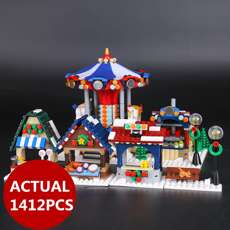 Lepin 36010 Creative Series The Winter Village Market 1412Pcs Set 10235 Building Blocks Bricks Educational Toys Christmas Gifts lepin 36010 in stock 1412pcs winter village market carousel model building blocks bricks christmas toys 10235