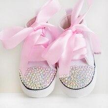 2019 newborn rhinestone baby Shoes bling White lace