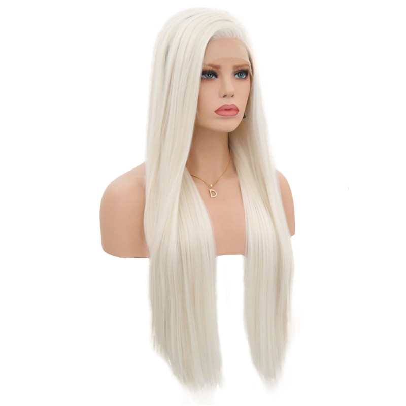 """Image 3 - JOY&BEAUTY 18"""" 26"""" Silky Straight Synthetic Lace Front Wigs #60 Blond 150% Density Heat Resistant Wigs With Natural Part Wig for-in Synthetic Lace Wigs from Hair Extensions & Wigs"""