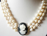 free shipping >>>>>3 rows white pearl & carved girl head necklace 17 19