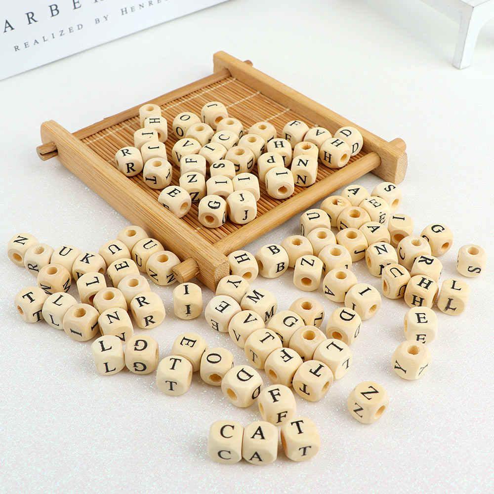 100 шт./лот квадратный деревянные буквы алфавита номер бусины для самостоятельного изготовления украшений для гладкой Прорезыватель для зубов для изготовления ювелирных изделий, аксессуары