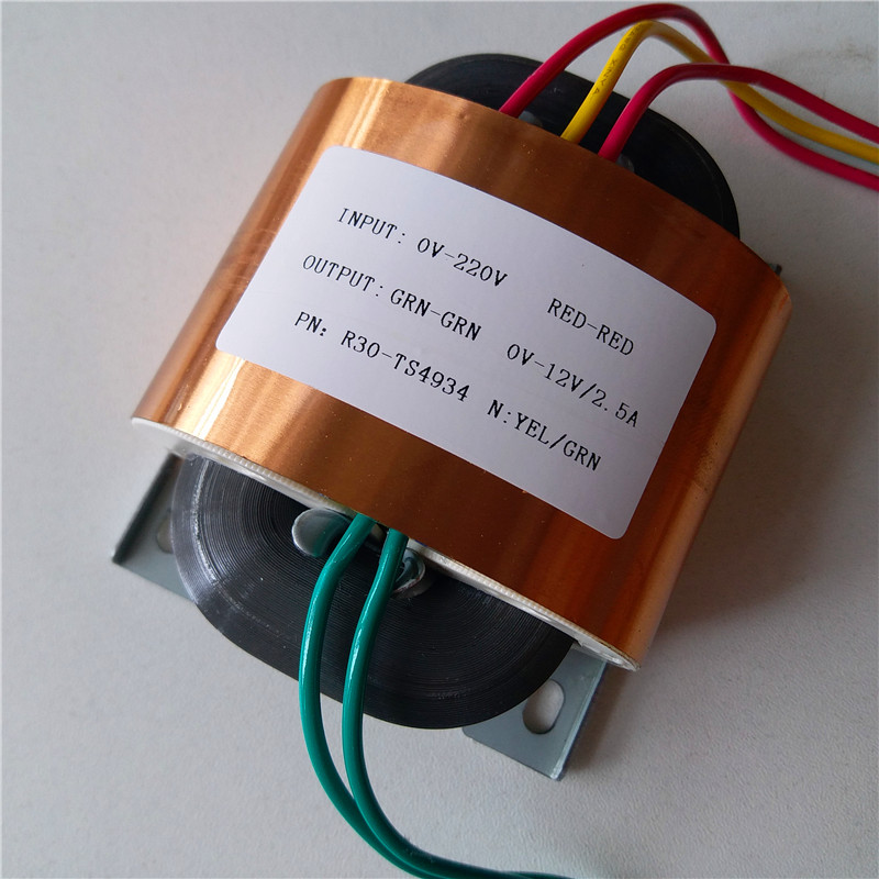 12V 2.5A R Core Transformer 30VA R30 custom transformer 220V copper shield for Power supply amplifier 7 5v 4a r core transformer 30va r30 custom transformer 230v copper shield for pre decoder power amplifier