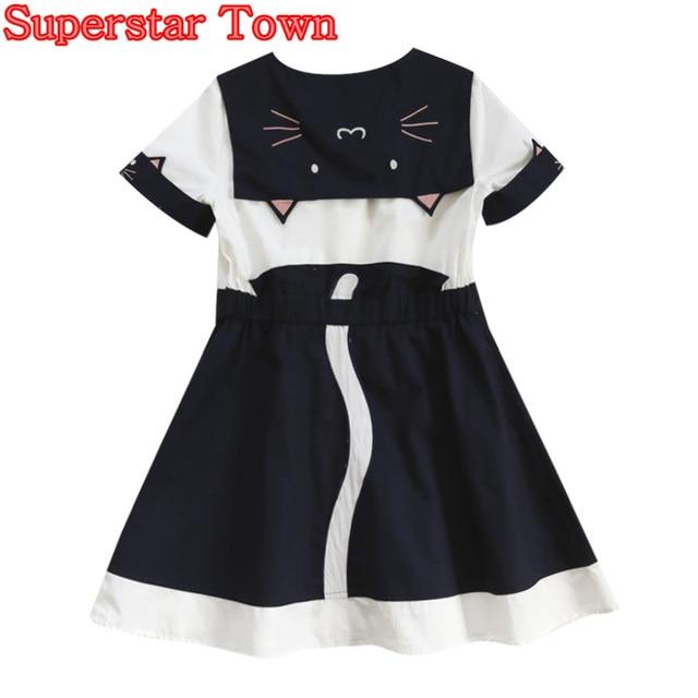 6cc534bed Vestidos de gato Estilo Marinero Vestido de verano Vestidos de Las Mujeres  Del Gato Lindo de ...