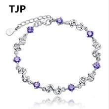 TJP Popular Purple Cubic Zirconia Srones Female Bangles Pure 925 Sterling Silver Bracelets For Women Wedding Party Lovers Gift