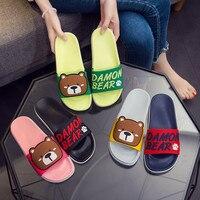 Dessin animé ours pantoufles femmes glisser sandales plage plat diapositives d'été sans lacet sandales Damon ours femmes chaussures dames tongs