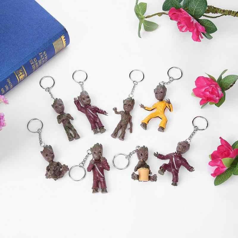 Bebê Homem Árvore Grootted Groot Action Figure Chaveiro Pingente de Porta Do Carro Chaveiro Chave Da Cadeia de Brinquedos Do Presente Do Partido