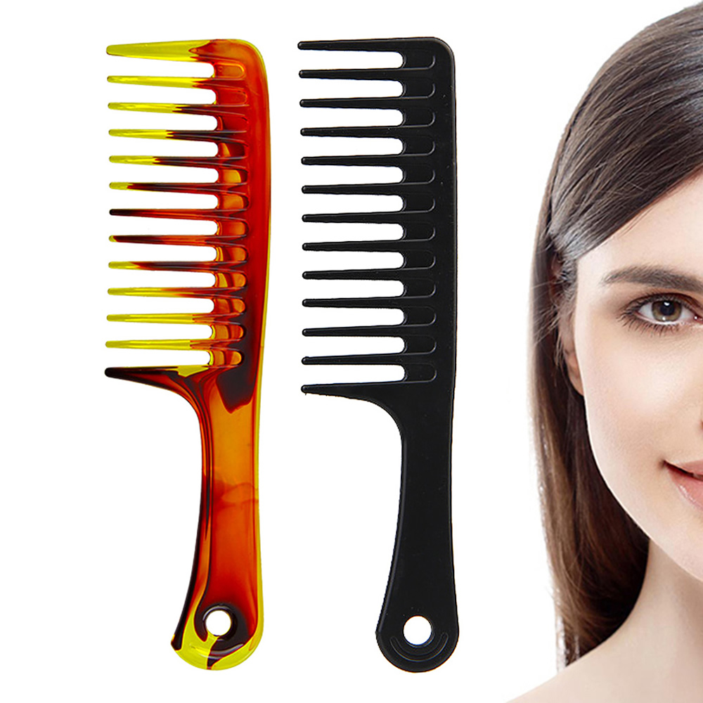 Professional Durable Hair Comb Anti-static Hair Styling Care Wide Tooth Health Care Salon Beauty Tool Black Amber 1Pc