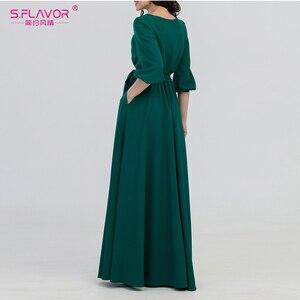 Image 2 - S.FLAVOR kolor zielony kobieta O Neck długa sukienka styl boho Slim Vestidos Vintage 3/4 latarnia rękaw Casual sukienka zimowa