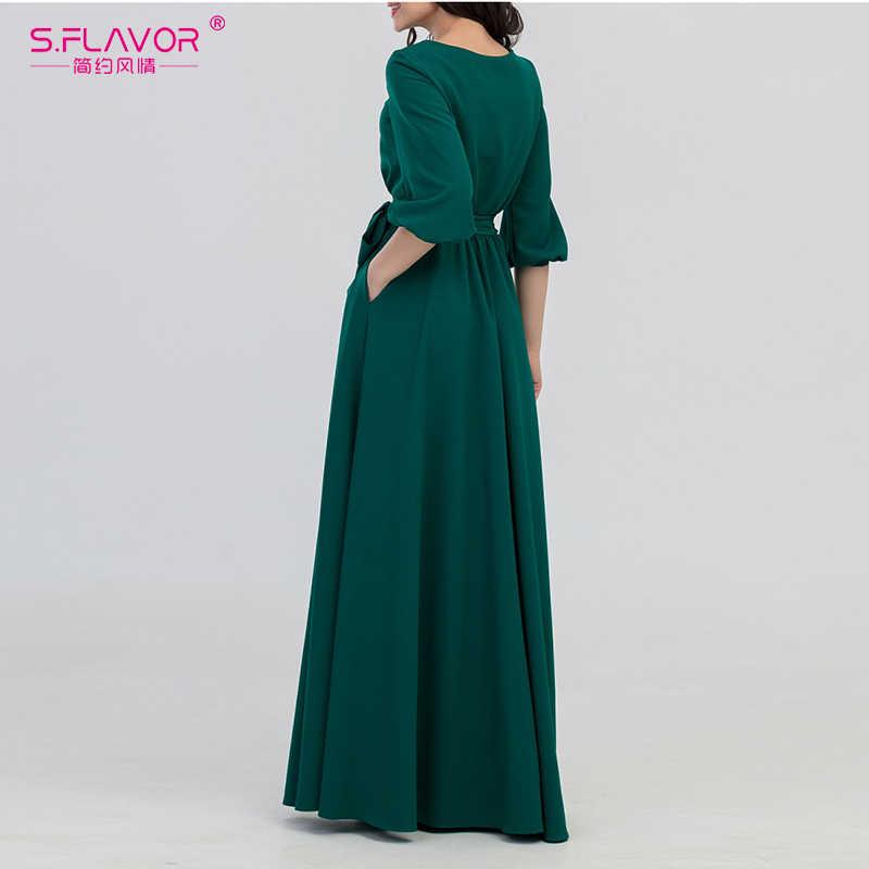 Женское богемное длинное платье S.FLAVOR, облегающее винтажное повседневное платье с О-образным вырезом и рукавом-фонариком 3/4 для весны и лета