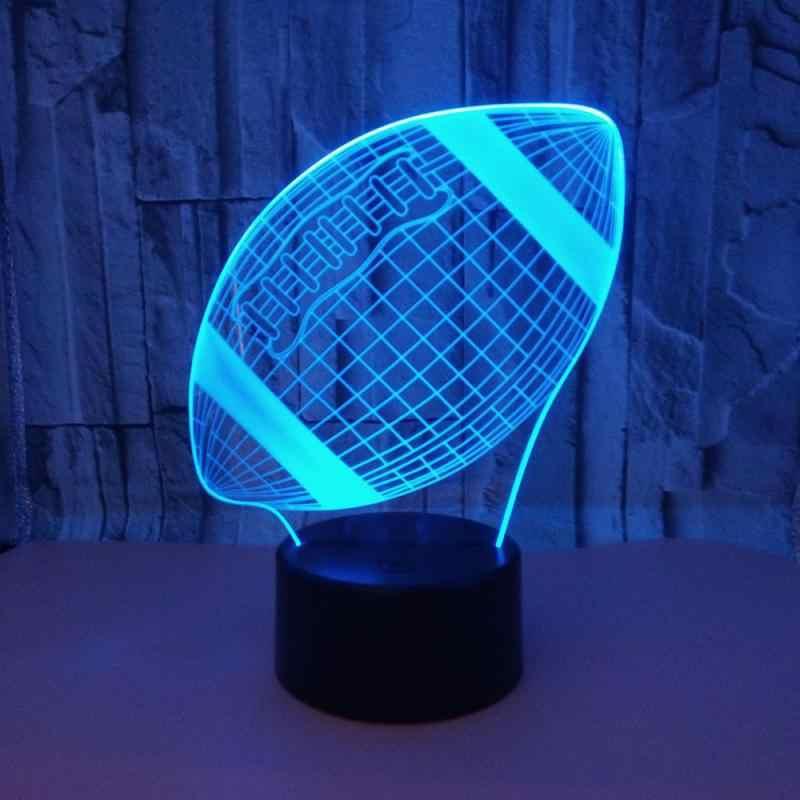 Rugby coloré 3d Led Usb lampe de Table tactile télécommande colorée 3d lampe de nuit décoration de chambre d'enfants 3D veilleuse