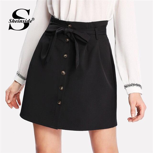 aa9453126f Sheinside Summer Women Black Skirt Self Belt Button Up Short Skirts Womens  Clothing 2018 High Waist Elegant Ladies Mini Skirt