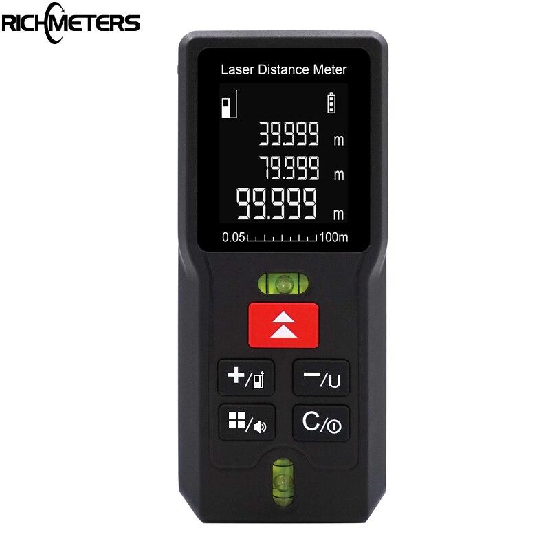 RICHMETERS F100 Laser Misuratore di Distanza laser telemetro misura di Nastro Range finder Area/Volume M/Ft 40 M/ 60 M/80 M/100 M