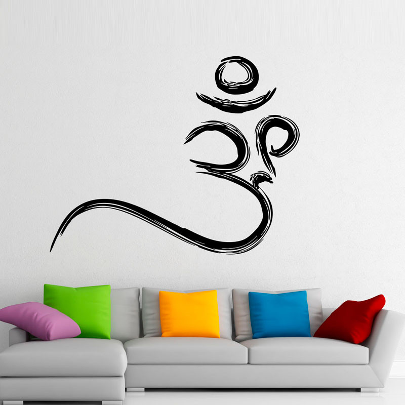 Om Symbol Wall Stickers Buddhism Removable Wall Decals Vinyl Stickers Home Decor Creative Design