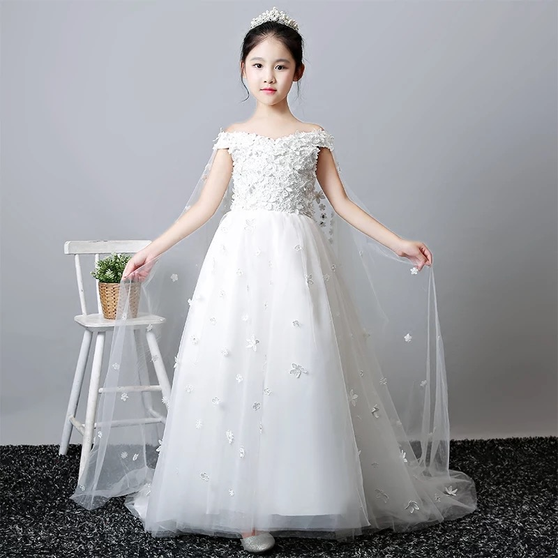 2018 New Children Girls Elegant Fashion Children Girls White Birthday Wedding Evening Party Princess Lace Dress With Trailing 2017 new high quality girls children white color princess dress kids baby birthday wedding party lace dress with bow knot design