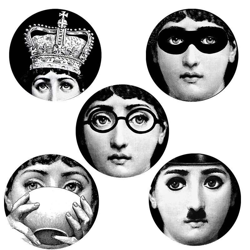 Online Shop 5 Pieces Milan Designer 10 Inch Fornasetti Plates Pattern Wall Sticker Creative Separated Painting DIY Decorative Wallpaper