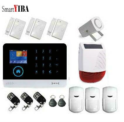 Système d'alarme de sécurité SmartYIBA sans fil Wifi capteur d'alarme anti-intrusion mouvement avec sirène solaire alarme GSM sécurité à domicile APP contrôle