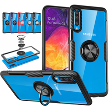 Car Holder Transparent Phone Case For Samsung Galaxy A50 A70 Luxury Finger Ring Stand TPU Armor Cover A30 Cases Silicone