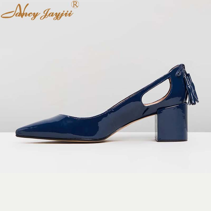 Navy Blue Mid Heels Chunky Heel Hollow Riband Pumps Woman -3966