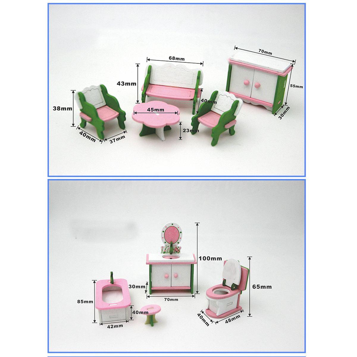 de madeira do bebê bonecas casa miniatura