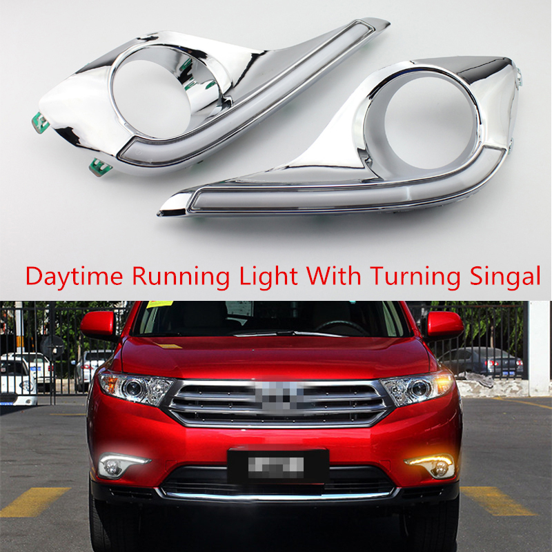 Waterproof Daytime Running Lights For Toyota highlander With Turn Signal style Relay 12v LED DRL With Fog Lamp Hole 2012 2013 specific for toyota hilux revo vigo 2015 2016 with amber signal style relay 12v car drl led daytime running light